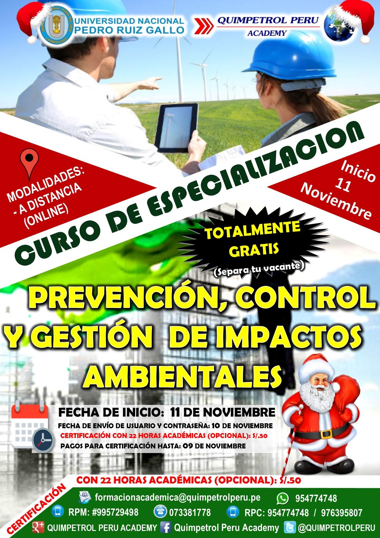 Curso de Especialización: Prevención, Control y Gestión de Impactos Ambietales