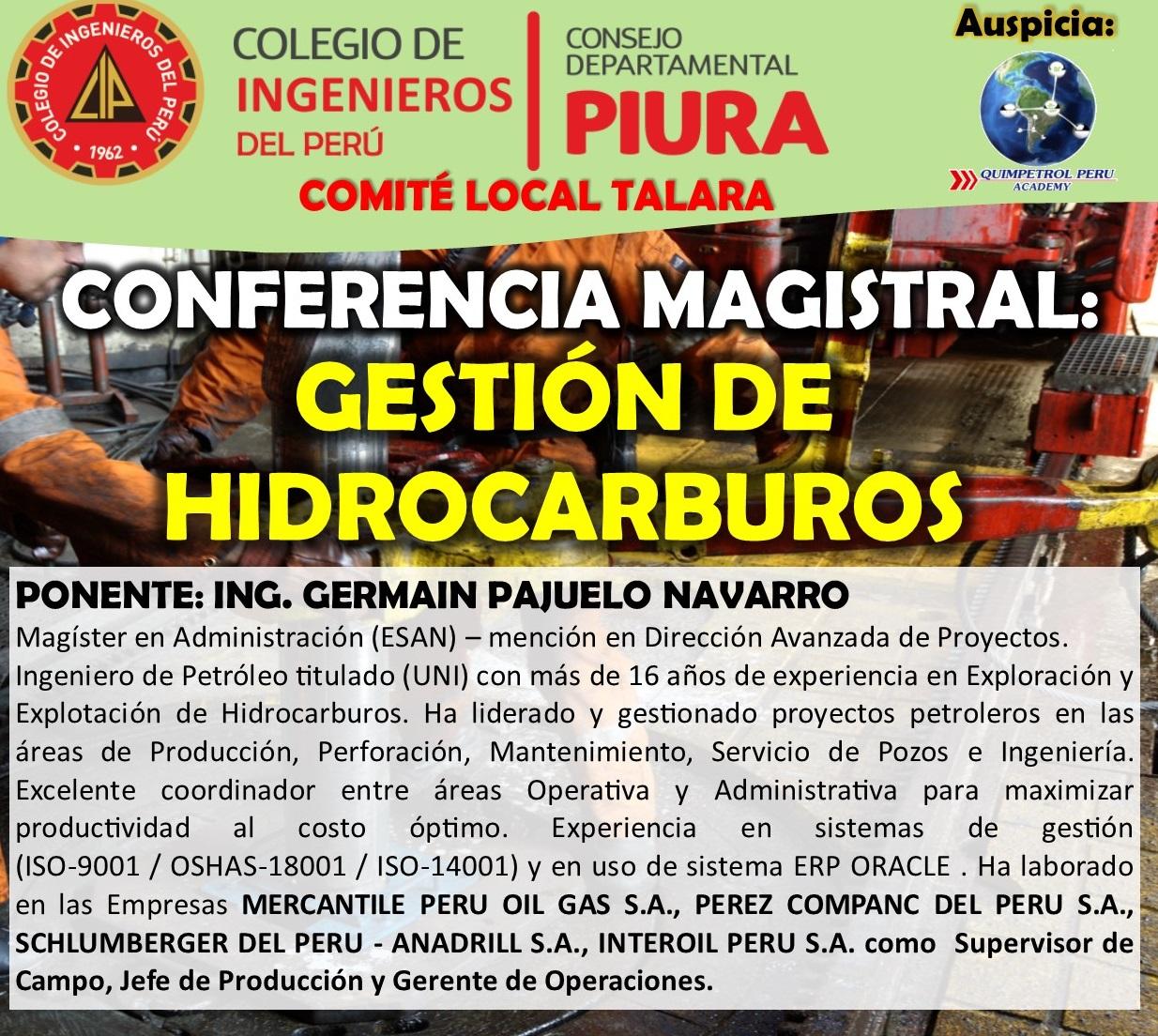 Conferencia Magistral: Gestión de Hidrocarburos