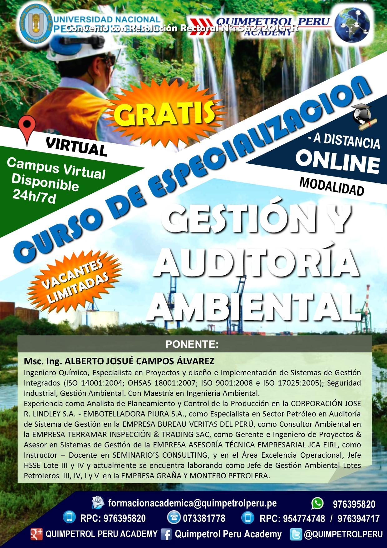 Curso de especialización: Gestión y Auditoría Ambiental
