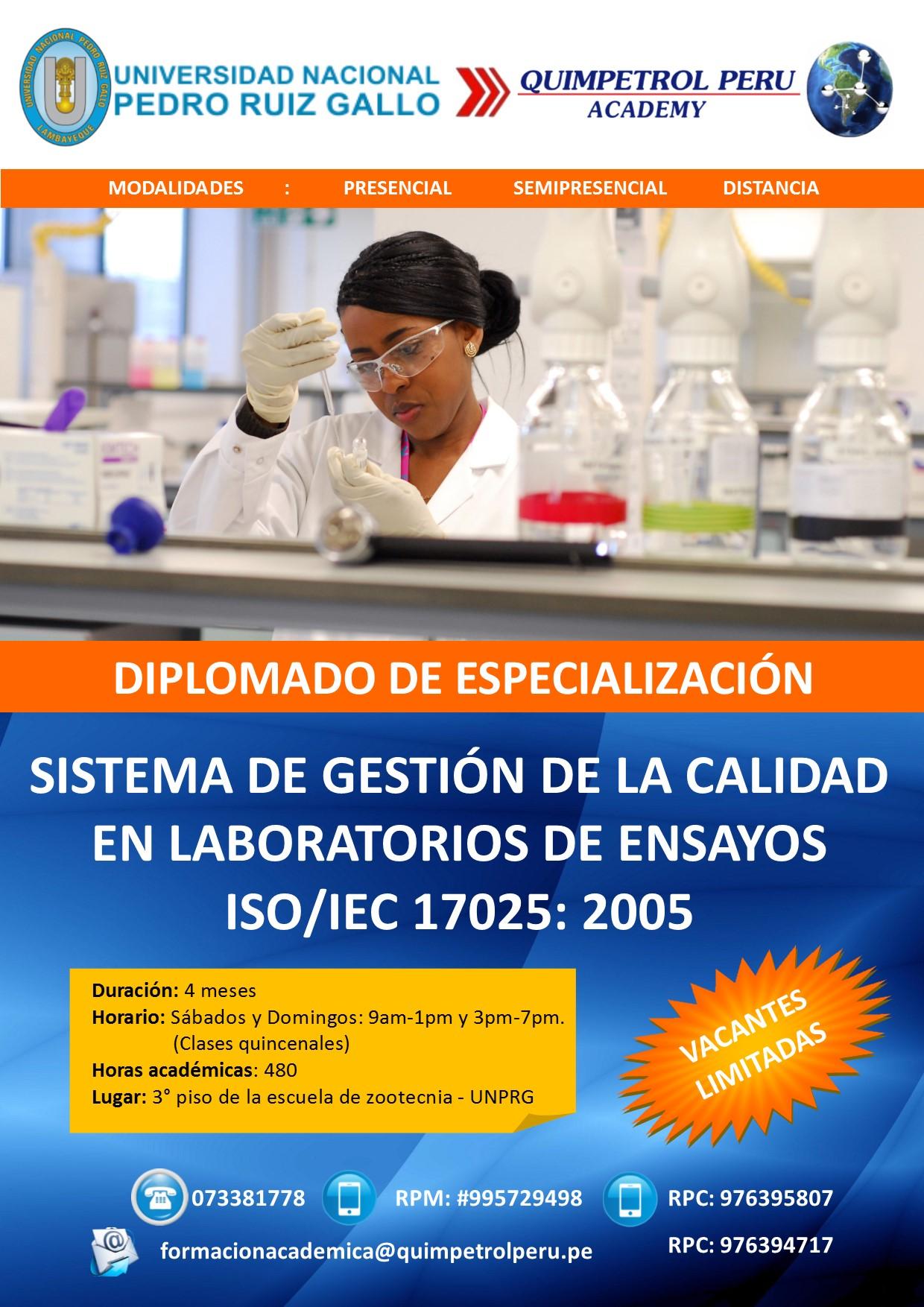 DIPLOMADO DE SISTEMA DE GESTIÓN DE LA CALIDAD EN LABORATORIOS DE ENSAYOS  ISO/IEC 17025