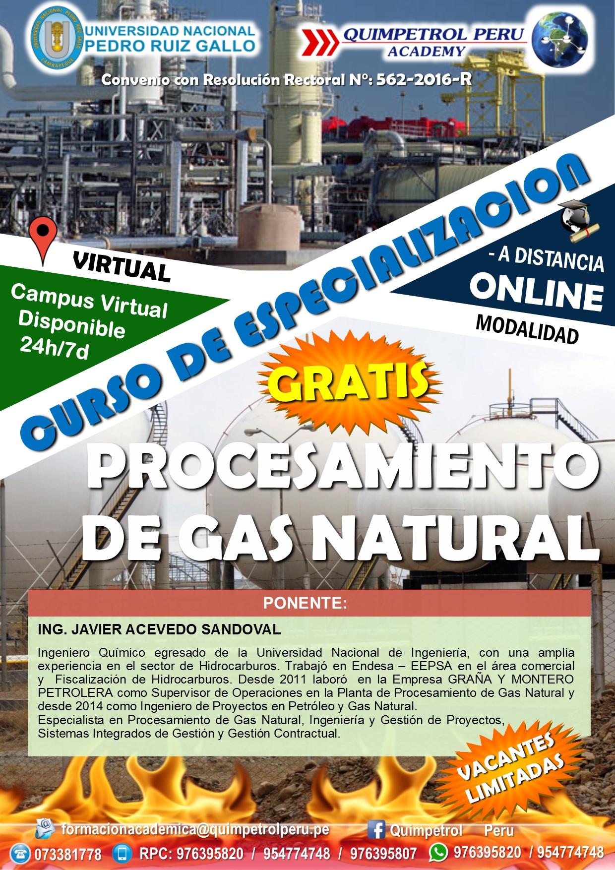 Curso de especialización: Procesamiento de Gas Natural