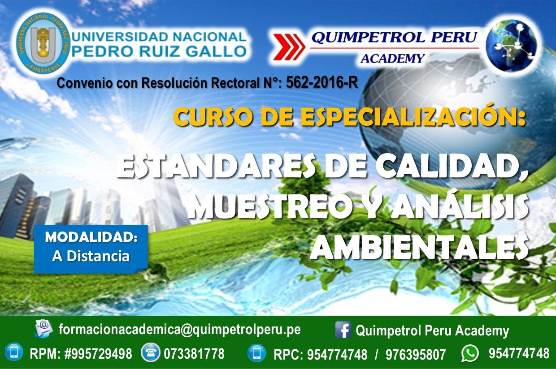 Curso de Especialización: Estándares de Calidad, Muestreo y análisis ambientales